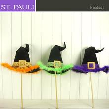 24 inch bamboo halloween party picks wiith stuffed witch decoration