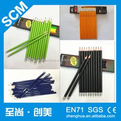 Zhejiang cheap HB pencil with rubber eraser,Black sharped wood pencil
