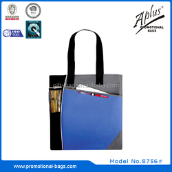 polyester shopping tote bag with mesh pocket 8756#