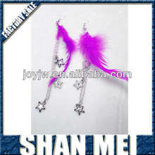 Alloy dangle feather earring with star for gift