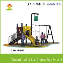 Outdoor children park plastic slide and swing set