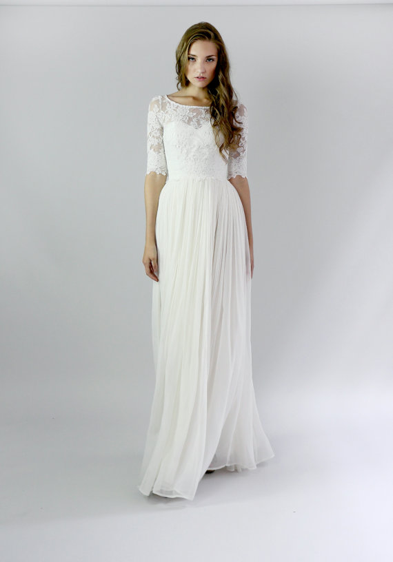 Layered Wedding Dress With Sleeves : Tb fashion lace layered modest half sleeve wedding dresses buy