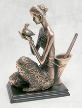 pewter alloy peaceful lady figurines,zinc alloy figures pen holders