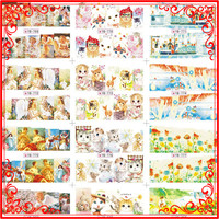 K007(3) Popular 50 Sheets Wholesale Lovely Angel And Cat Style Watermark Nail Sticker & Decal