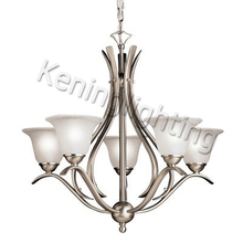 5 Lights Etched Seedy Glass Shade Chandelier Lighting Chandelier Lighting in Satin Nickel Finished # #10008-5SN