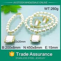 kalen popular cheapest price women diamond plated ivory pearl jewelry set