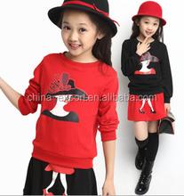fa1602 2015 wholesale fashion hot sale new spring autumn girls long sleeve beauty T-shirt+elastic skirt girls dress sets