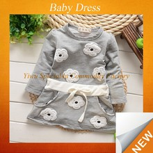 Spring ling sleeve grey small flower little girls dresses SFUBD-303