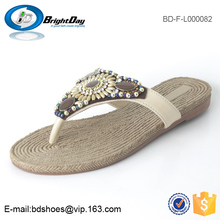 OEM cream girls dress shoes straw ladies shoes beaded slipper