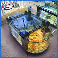Hot Sale Glass Two Round Aquarium Bar Tables Fish Tank