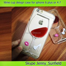 new wine cup deisgn liquid pc clear crystal case for iphone 6 plus 4.7, for iphone 6 case 2015, for iphone case customize