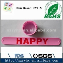 2012 new silicone slap bracelet with printed letters