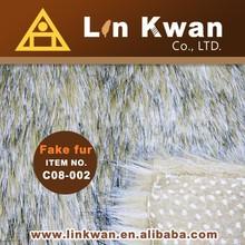 C08-002 Linkwan Taiwan luxurious long hair jacquard fack fur knit fabric for brimgarment