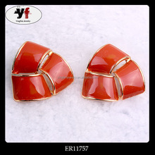 Ladies Orange Enamel Pretty Daily Wear Earrings