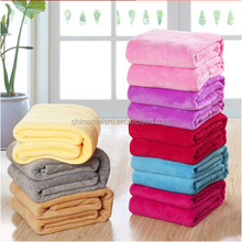 Summer 100% coral fleece blanket flannel fabric super soft air-condition blanket pure color