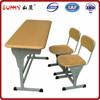 Wholesale metal frame furniture double desk and bench for student
