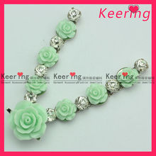 Plastic Cam Flower/Rhinestone Buckle for Shoes WCK-1005
