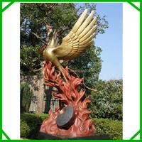 Fire with phoenix statue, bronze garden phoenix bird statue