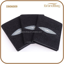 Grace Luxury Rare Big black pearl Manta ray skin leather stingray skin leather Vertical Wallet for men