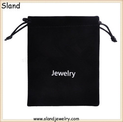 Cheap wholesale jewelry bag velvet pouch / black Velvet Drawstring Bag can custom printed logo and texts