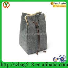Cotton jute bag for tea cup /portable drawstring gift bag