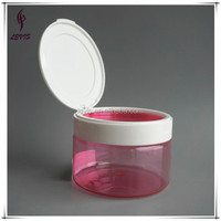 Empty round shaped 250ml clear plastic cosmetic jars flip top lids