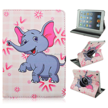 Cute Elephant Pattern 360 Rotating Magnetic PU Leather Case Smart Cover Stand For iPad Mini 1/2/3