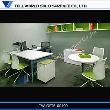L shape white high gloss office desk/office tables