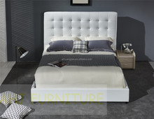 white colour genuine leather bed, italian leather bed frame, modern leather bed top grain leather king size Y89