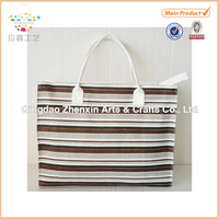 2015 ZHENXIN brown and black color blocking paper straw beach bag paper straw handle hot sales gift bag promotion bag