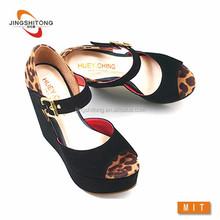 Ultra high heel wedge sandals leopard print ankle strap summer kasut kilang kasut