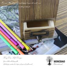 HONGDAO Hot Christmas custom-made wooden pen container, wooden brush pot, wooden pen box