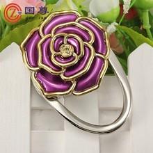Wholesale Crystal Folding Purse Hook / bag Hanger / Rose Shape Purse Hange