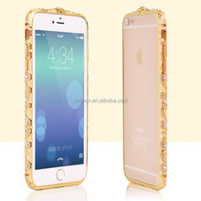Diamond bling frame metal bumper case for iPhone 6 Plus, for iPhone 5 shining aluminum bumper case