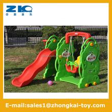 Indoor kindergarten plastic bear slide and swing for sale