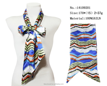 2016 colorful wave printed small neck bow tie scarf