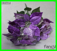 42cm height 5 heads purple color artificial velvet poinsettia flower