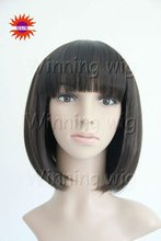 lovely student head korean hair style bob synthetic wigs with bangs heat resistant -427