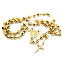 PVD Gold Plated Fashion Stainless Steel Religious Father Jesus Cross Buddhist Memorial 8MM Rosary Beads Chains Prayer Necklace