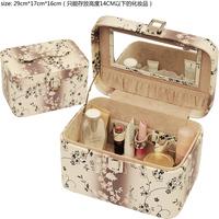 fashion wholesale pu leather large makeuptrain organizer case