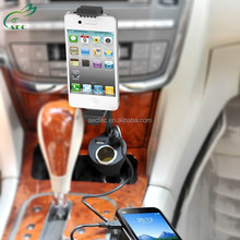 Universal high quality dual USB car phone battery charger for travel and phone mount holder