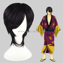 Wholesale 14Inch Short Straight Gin Tama Cosplay Hair Wigs Takasugi Shinsuke Dark Purple Synthetic Anime Wig Party Wig