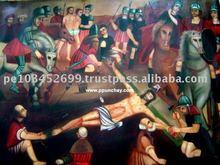 "Art Oil Painting ""Crucifixion of Christ"" 47x31"" Peru"