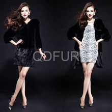 QD29651 fashion winter coats dress designs rex rabbit fur with fox collar women's outerwear nutribullet