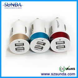 portable with all kings of color Aluminum alloy ring dual usb car charger