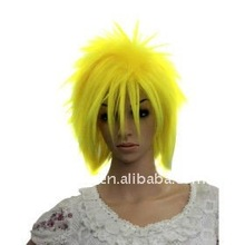 Capless Short High Temperature Wire Yellow Afro Costume Party Wig