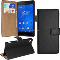 PU Leather Wallet Flip Case With Card Holder Slot For Sony Z3 With Screen Protector