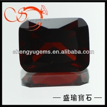 octangle cz shinning cut garnet color gems stone for jewerly