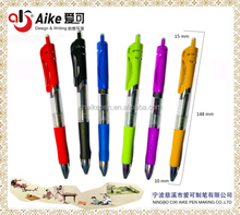 Retractable Premium gel ink roller ball pen,colored and rubber grip