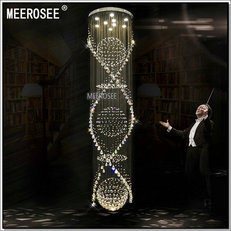 Espiral escalera de cristal luz de techo fixture largo cristal ...